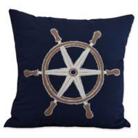 E by Design Nantucket Ship Wheel Square Throw Pillow in Navy