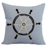 E by Design Nantucket Ship Wheel Square Throw Pillow in Blue