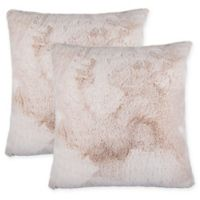 Tipped Faux Fur Square Throw Pillows in Tan (Set of 2)
