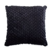 Honeycomb Faux Fur Square Throw Pillow in Navy