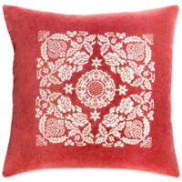 Surya Smithsonian Floral Square Throw Pillow in Red/Ivory