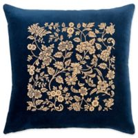 Surya Smithsonian Floral Square Throw Pillow in Navy/Tan