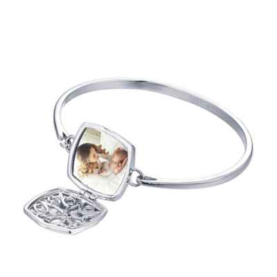 With You Lockets Sterling Silver and White Topaz Leonora Locket Bangle Bracelet