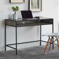 "Forest Gate 42"" Elm Industrial Modern Metal Wood Glass Desk in Grey Wash"