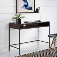 "Forest Gate 42"" Elm Industrial Modern Metal Wood Glass Desk in Dark Walnut"