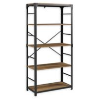 "Forest Gate 64"" Wheatland Industrial Modern Wood Metal Bookshelf in Rustic Oak"