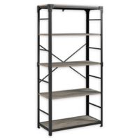 "Forest Gate 64"" Wheatland Industrial Modern Wood Metal Bookshelf in Grey Wash"