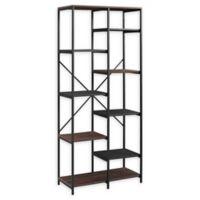 """Forest Gate 68"""" Brownlow Industrial Modern Bookcase in Dark Walnut"""