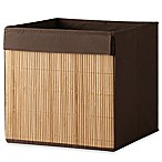 Real Simple® Fabric Bin with Bamboo Front in Brown
