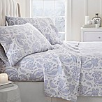 Paisley Print Queen Flannel Sheet Set in Light Blue