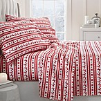 Reindeer Deep-Pocket King Flannel Sheet Set in Red