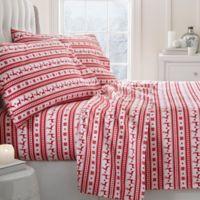 Reindeer Deep-Pocket Twin Flannel Sheet Set in Red
