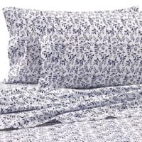 Burst of Vines Microfiber Deep-Pocket Full Sheet Set in Navy