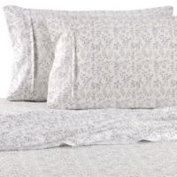 Burst of Vines Microfiber Deep-Pocket Full Sheet Set in Light Grey