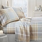 Plaid Flannel Deep Pocket Queen Sheet Set in Light Blue