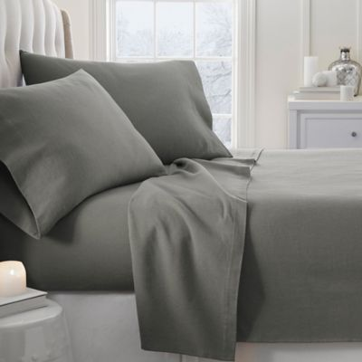 Home Collection Ultra Soft Flannel California King Sheet Set In Grey