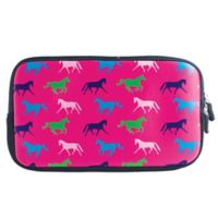 Tek Trek Neoprene Zipper Bag with Galloping Horses Graphic in Pink