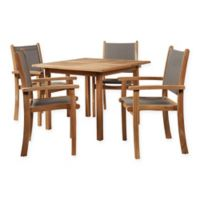 Hiteak Furniture Pearl 5-Piece Outdoor Dining Set in Taupe