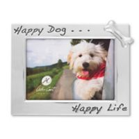 "Arthur Court ""Happy Dog... Happy Life"" 5-Inch x 7-Inch Bone Picture Frame"