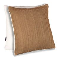 Brielle Cable Knit 18-Inch Square Throw Pillow in Taupe