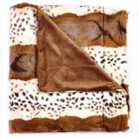 De Moocci Animal Skin Reversible Faux Fur Twin Blanket in Brown