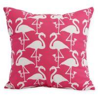 E by Design Flamingo Heart Martini 16-Inch Square Pillow in Pink