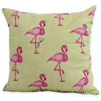 E by Design Flamingo Fanfare Martini 16-Inch Square Pillow in Light Green