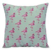 E by Design Flamingo Fanfare 16-Inch Square Pillow in Aqua
