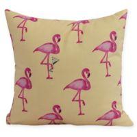 E by Design Flamingo Fanfare Martini 16-Inch Square Pillow in Yellow