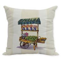 E by Design Veggie Cart 16-Inch Square Pillow in Green