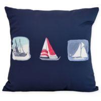 E by Design Boat Trio Square Pillow in Navy