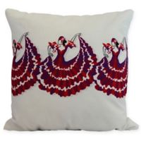 E by Design Three Cuban Dancers Square Throw Pillow in Red