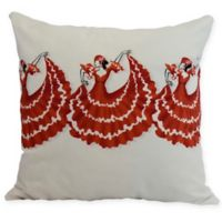 E by Design Three Cuban Dancers Square Throw Pillow in Red/Orange