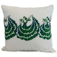 E by Design Three Cuban Dancers Square Throw Pillow in Green