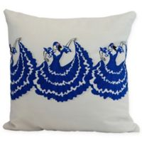 E by Design Three Cuban Dancers Square Throw Pillow in Royal Blue