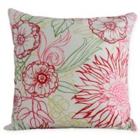 E by Design Zentanle Floral Square Throw Pillow in Red