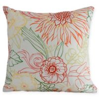 E by Design Zentanle Floral Square Throw Pillow in Orange