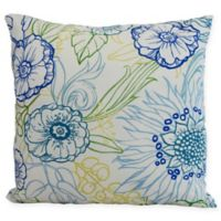E by Design Zentanle Floral Square Throw Pillow in Blue