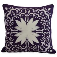 E by Design Cuban Tile Square Throw Pillow in Purple