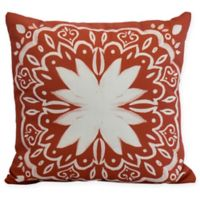 E by Design Cuban Tile Square Throw Pillow in Orange
