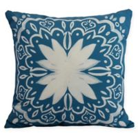 E by Design Cuban Tile Square Throw Pillow in Teal