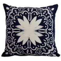 E by Design Cuban Tile Square Throw Pillow in Navy Blue