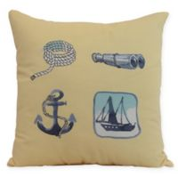 E by Design Sea Tools Nautical Square Throw Pillow in Yellow