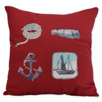 E by Design Sea Tools Nautical Square Throw Pillow in Red