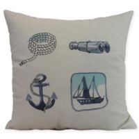 E by Design Sea Tools Nautical Square Throw Pillow in Ivory