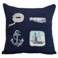 E by Design Sea Tools Nautical Square Throw Pillow in Navy