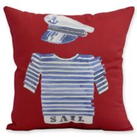 E by Design Captain Shirt Square Throw Pillow in Red