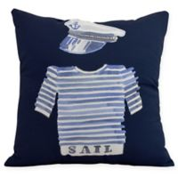 E by Design Captain Shirt Square Throw Pillow in Navy