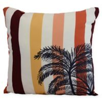 E by Design Thin Stripe Palm Square Throw Pillow in Gold