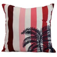 E by Design Thin Stripe Palm Square Throw Pillow in Red